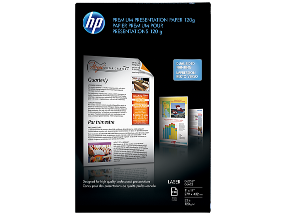 HP Premium Glossy Presentation Paper 120 gsm-250 sht/Tabloid/11 x 17 in - Center