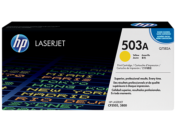 HP 503A Yellow Original LaserJet Toner Cartridge, Q7582A