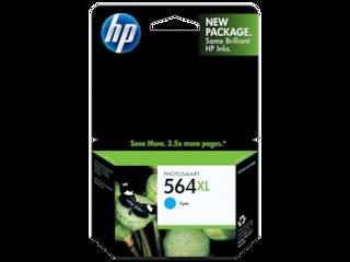 HP 564XL High Yield Cyan Original Ink Cartridge, CB323WN#140