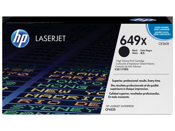 HP 649X High Yield Black Original LaserJet Toner Cartridge, CE260X - Center