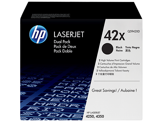 HP 42X 2-pack High Yield Black Original LaserJet Toner Cartridges, Q5942XD