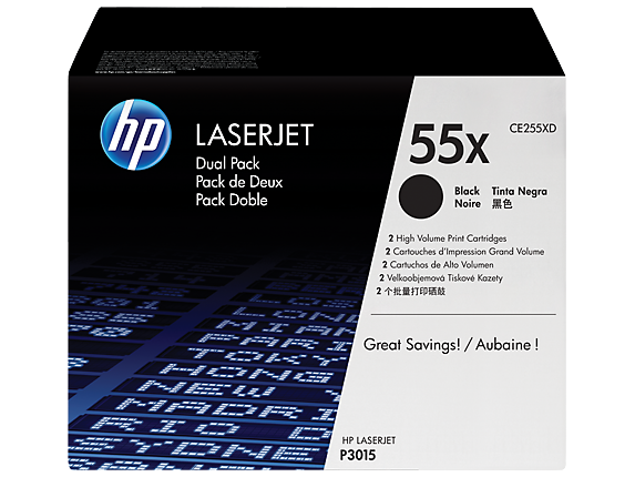 HP 55X 2-pack High Yield Black Original LaserJet Toner Cartridges, CE255XD