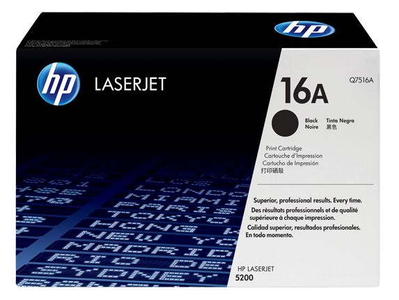HP 16A Black Original LaserJet Toner Cartridge, Q7516A