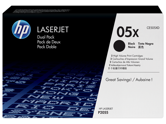 HP 05X 2-pack High Yield Black Original LaserJet Toner Cartridges, CE505XD