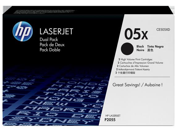 HP 05X 2-pack High Yield Black Original LaserJet Toner Cartridges, CE505XD - Center