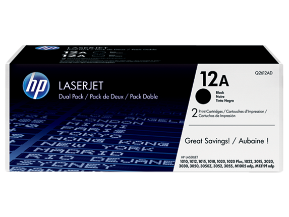 HP 12A 2-pack Black Original LaserJet Toner Cartridges, Q2612D
