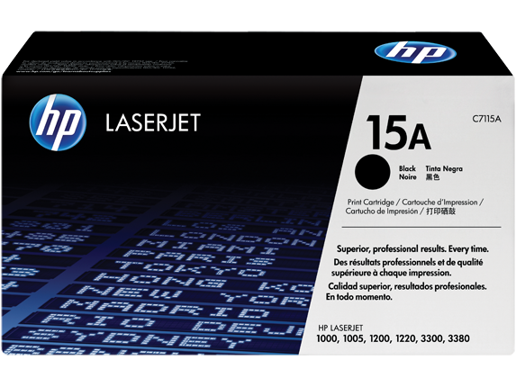 HP 15A Black Original LaserJet Toner Cartridge, C7115A - Center