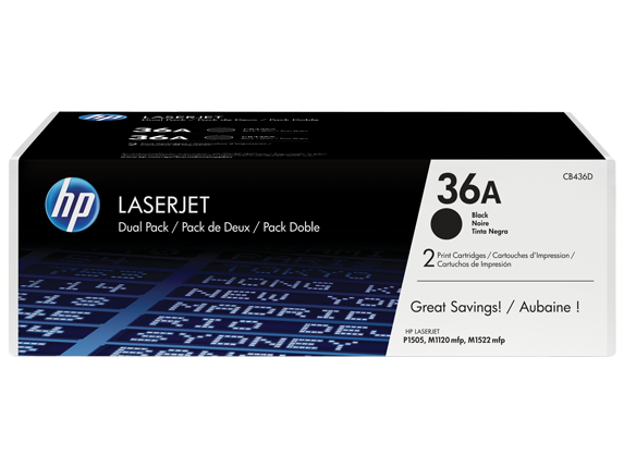 HP 36A 2-pack Black Original LaserJet Toner Cartridges, CB436D