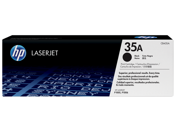 HP 35A Black Original LaserJet Toner Cartridge, CB435A