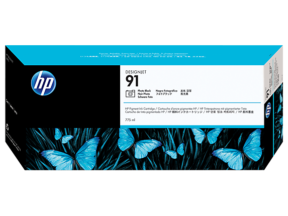 HP 91 775-ml Photo Black DesignJet Pigment Ink Cartridge - Center