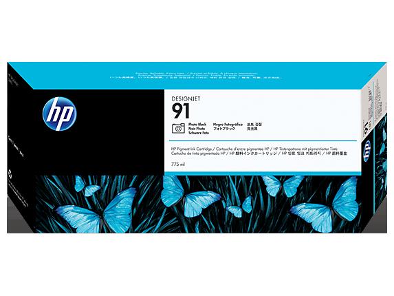 HP 91 775-ml Photo Black DesignJet Pigment Ink Cartridge
