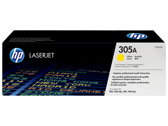 HP 305A Yellow Original LaserJet Toner Cartridge, CE412A