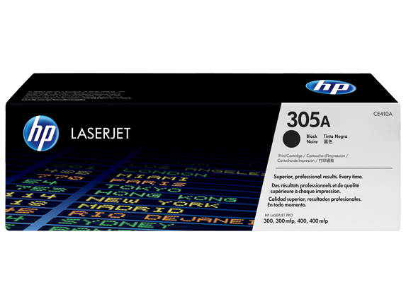 HP 305A Black Original LaserJet Toner Cartridge, CE410A