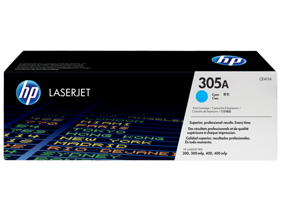 HP 305A Cyan Original LaserJet Toner Cartridge, CE411A