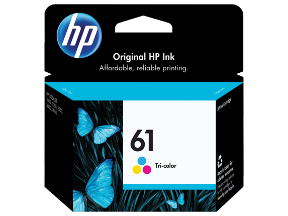 HP 61XL/61 High Yield Black and Standard Tricolor Ink Cartridge Bundle - Rear