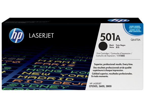 HP 501A Black Original LaserJet Toner Cartridge, Q6470A - Center