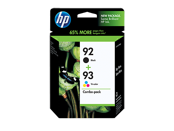 HP 92 Black/93 Tri-color 2-pack Original Ink Cartridges - Center