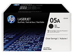 HP 05A 2-pack Black Original LaserJet Toner Cartridges, CE505D