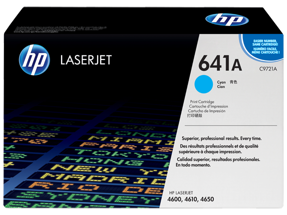 HP 641A Cyan Original LaserJet Toner Cartridge, C9721A