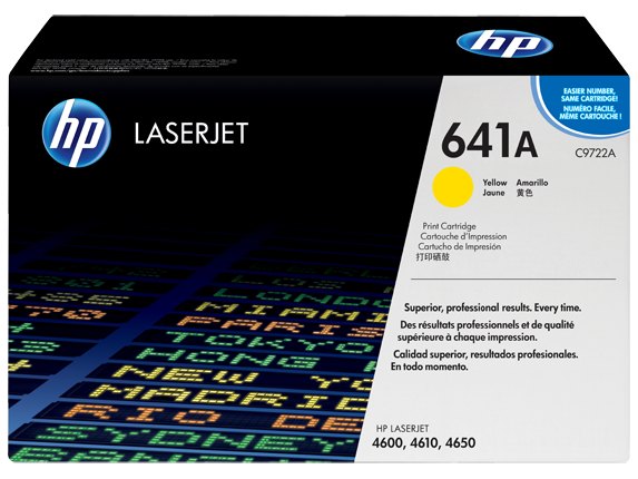 HP 641A Yellow Original LaserJet Toner Cartridge, C9722A