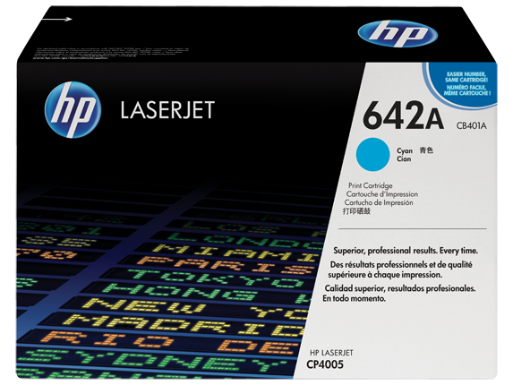 HP 642A Cyan Original LaserJet Toner Cartridge, CB401A