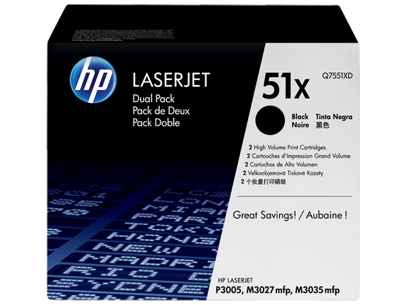 HP 51X 2-pack High Yield Black Original LaserJet Toner Cartridges, Q7551XD - Center