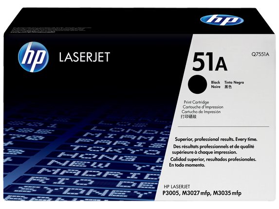 HP 51A Black Original LaserJet Toner Cartridge, Q7551A