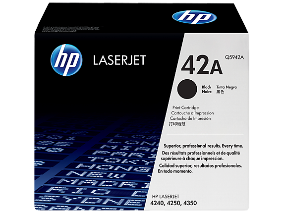 HP 42A Black Original LaserJet Toner Cartridge, Q5942A