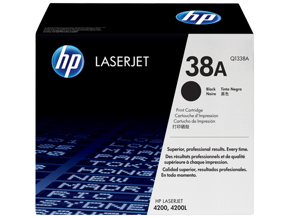 HP 38A Black Original LaserJet Toner Cartridge, Q1338A