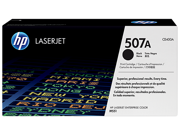 HP 507A Black Original LaserJet Toner Cartridge, CE400A