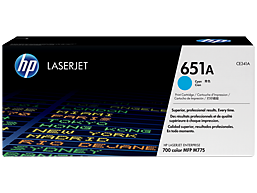 HP 651A Cyan Original LaserJet Toner Cartridge, CE341A