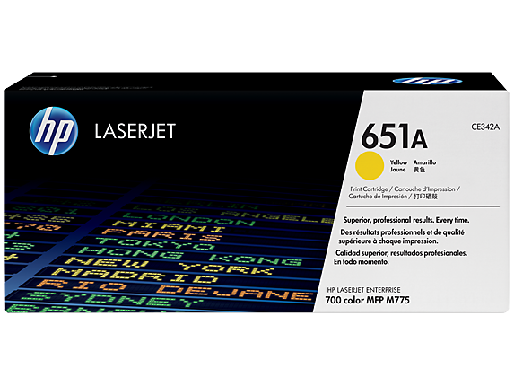 HP 651A Yellow Original LaserJet Toner Cartridge, CE342A