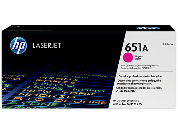 HP 651A Magenta Original LaserJet Toner Cartridge, CE343A