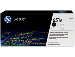 HP 651A Black Original LaserJet Toner Cartridge, CE340A