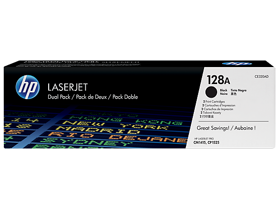 HP 128A 2-pack Black Original LaserJet Toner Cartridges, CE320AD