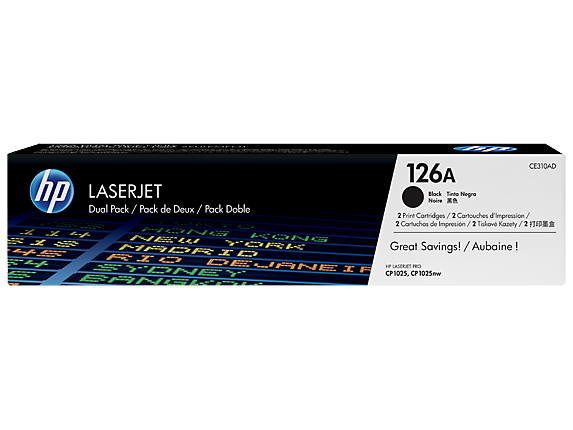 HP 126A 2-pack Black Original LaserJet Toner Cartridges, CE310AD