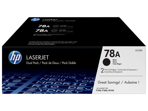 HP 78A 2-pack Black Original LaserJet Toner Cartridges, CE278D