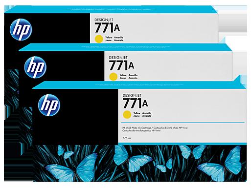 HP 771A 3-pack 775-ml Yellow DesignJet Ink Cartridges
