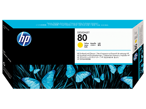 HP 80 Yellow DesignJet Printhead and Printhead Cleaner
