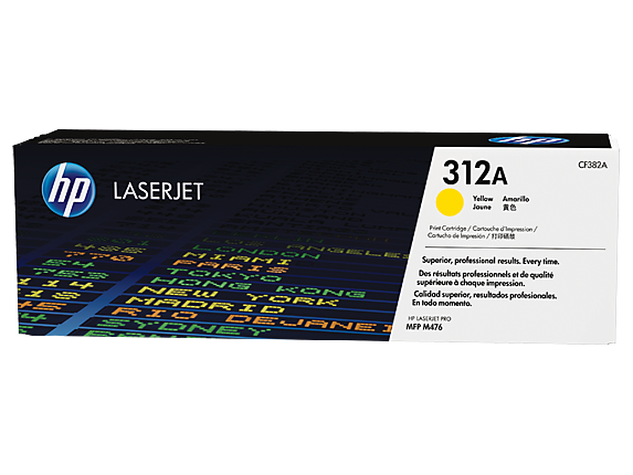 HP 312A Yellow Original LaserJet Toner Cartridge, CF382A - Center