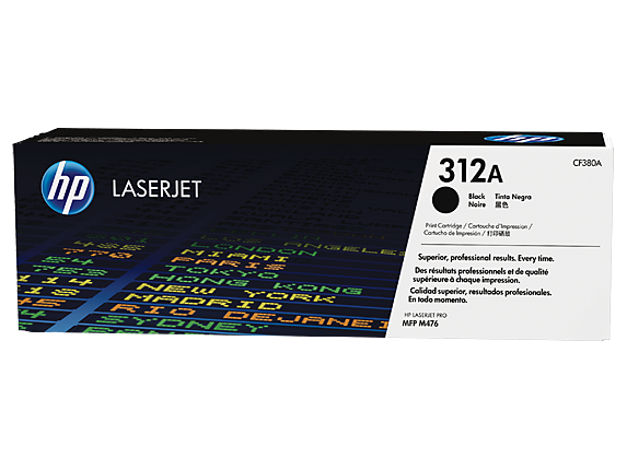 HP 312A Black Original LaserJet Toner Cartridge, CF380A