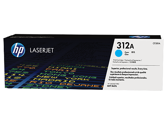 HP 312A Cyan Original LaserJet Toner Cartridge, CF381A