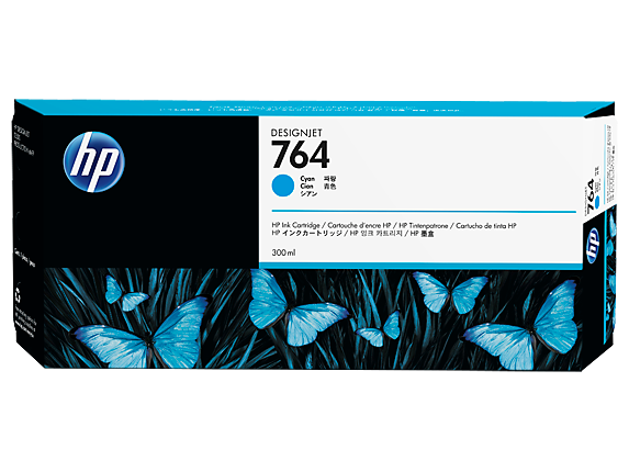HP 764 300-ml Cyan DesignJet Ink Cartridge