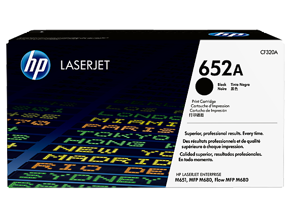 HP 652A Black Original LaserJet Toner Cartridge, CF320A
