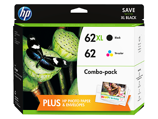 HP 62XL High Yield Black/62 Tri-color Original Ink Cartridge Content Value Pack