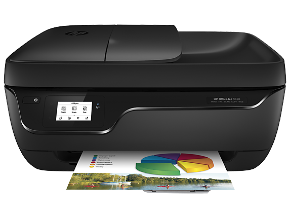HP OfficeJet 3830 All-in-One Printer [Print, copy, scan, fax, wireless, Print speed ISO: Up to 8.5 ppm (black), up to 6 ppm (color), 35-sheet ADF; Borderless printing, Instant Ink ready; High yield ink available]