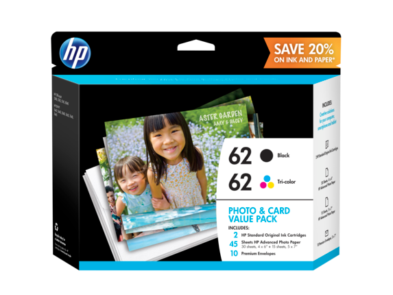 HP 62 Photo and Card Value Pack-30 sht/4 x 6 in and 15 sht/5 x 7 in - Center