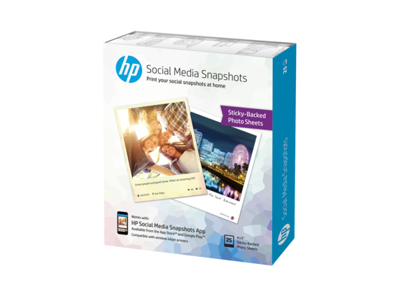 HP Social Media Snapshots Removable Sticky Photo Paper-25 sht/4 x 5 in - Center
