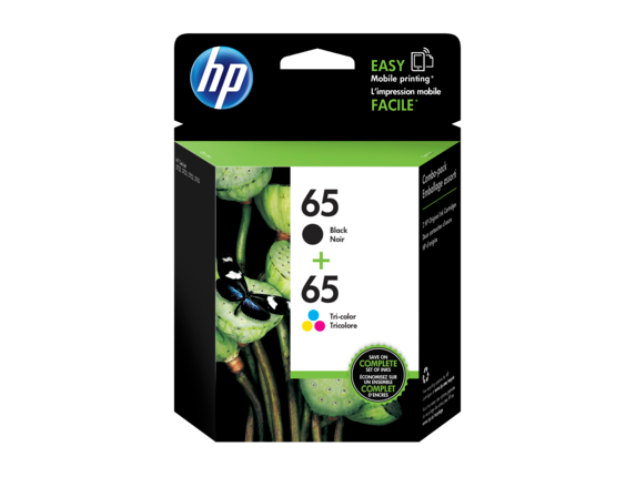 HP 65 2-pack Black/Tri-color Original Ink Cartridges - Center