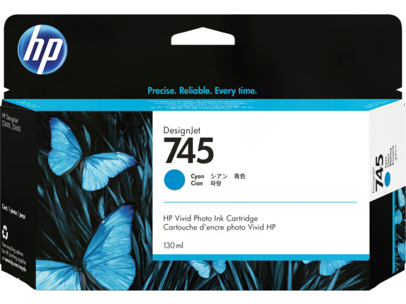 HP 745 130-ml DesignJet Cyan Ink Cartridge
